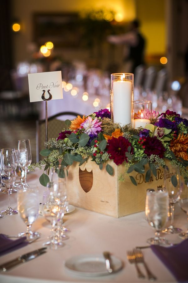 Wine Themed Place Settings With A Coordinating Fl Centerpiece