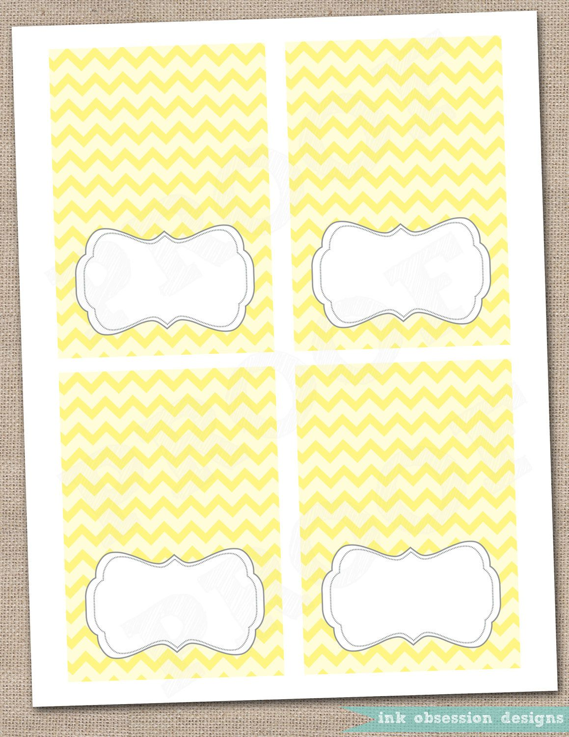 Yellow Chevron and Gray Buffet Card Printable Labels. $5.00, via Etsy.