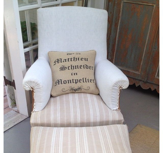 Lovely French chair and ottoman...loving the antique grainsack pillow at maisonetjardin.com.au/
