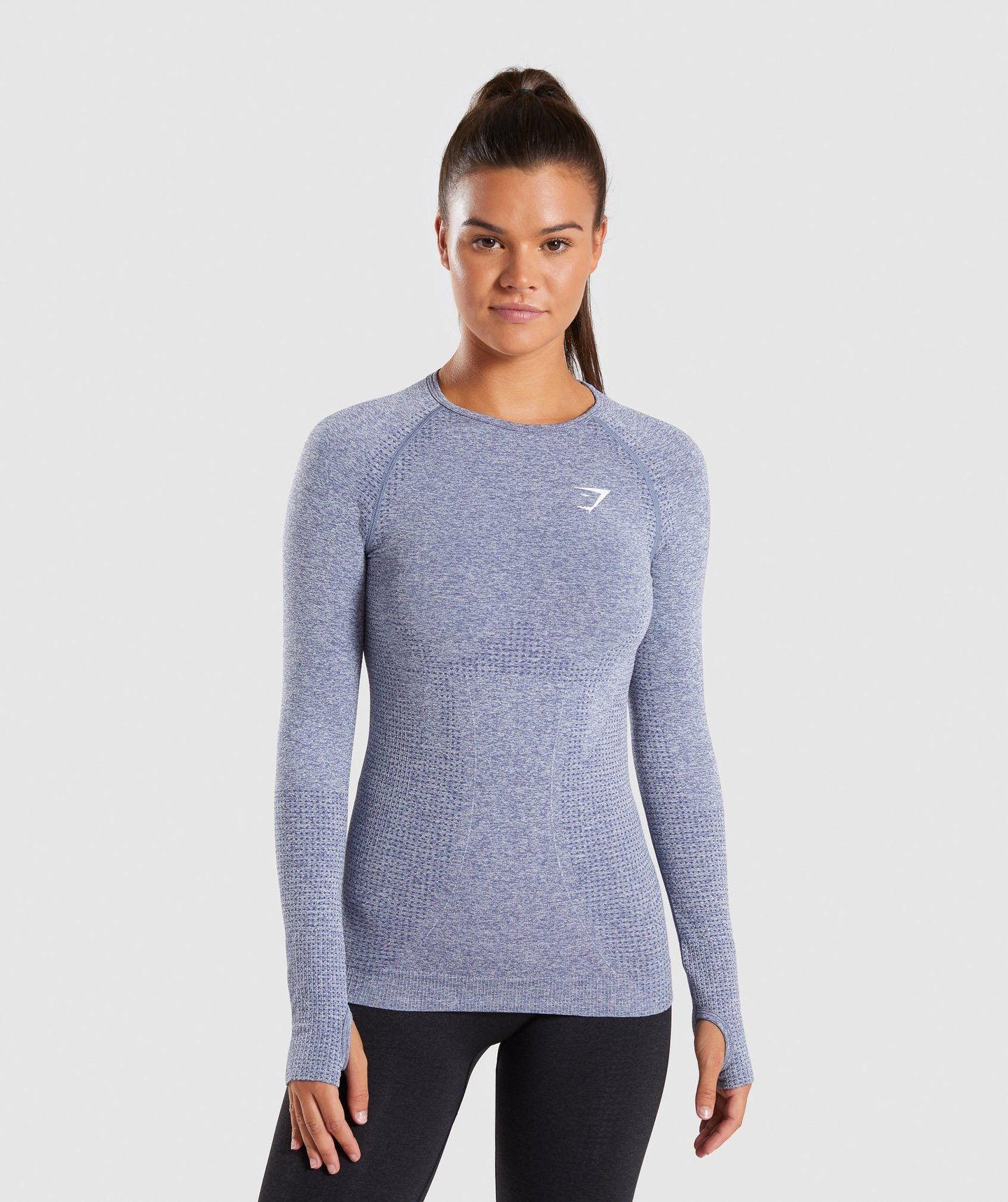 5500c84f8 Full Length Steel Blue Marl Vital Seamless Long Sleeve T-Shirt Front 4