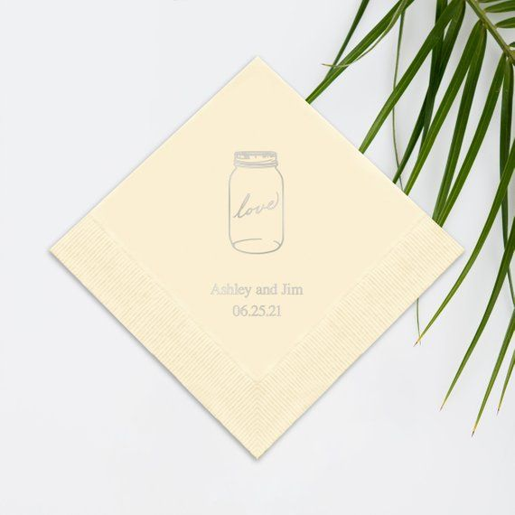 Set Of 100 Mason Jar Wedding Napkins Paper Printed C