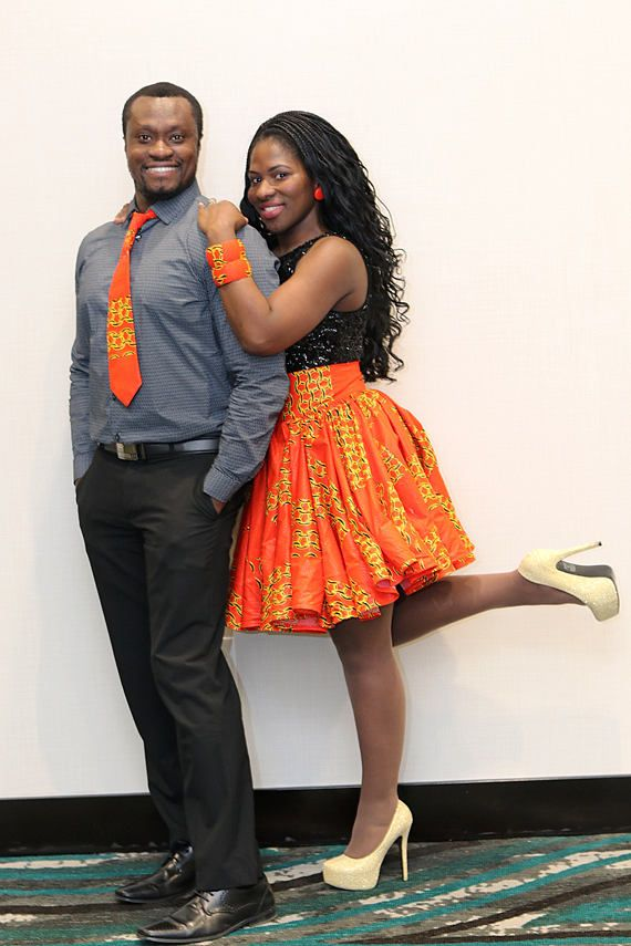d4a8ce9d596 Orange Ankara Matching Couple Outfit His and Her Outfit Ankara Necktie  African High Waisted Skirt
