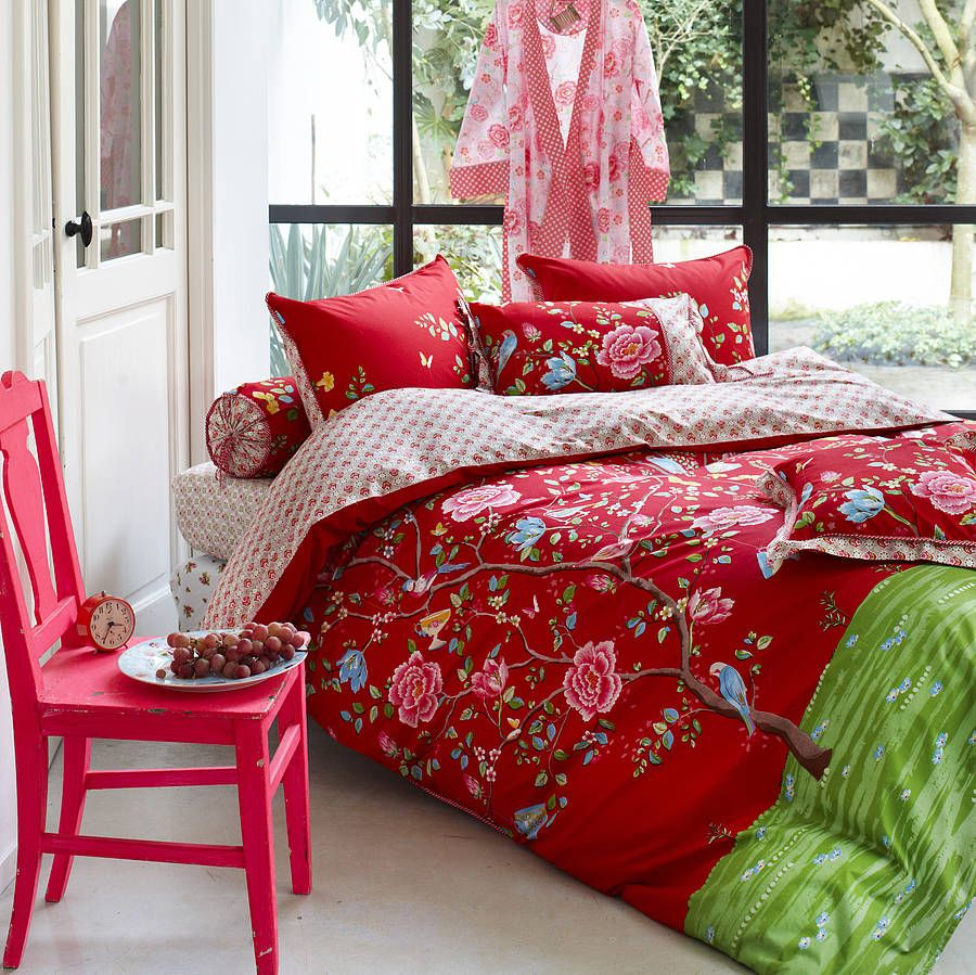 Pip Bettwäsche 155x220 Sale Red Morning Glory Single Duvet Set Home Decor Bedroom Red