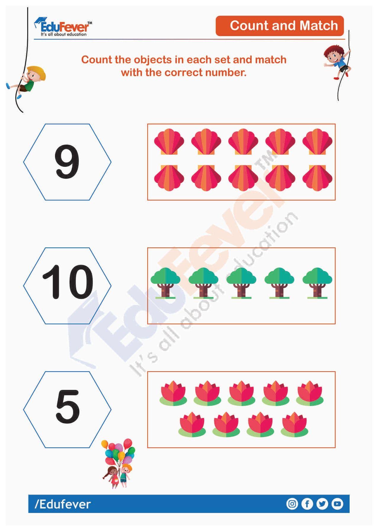 Count And Match Ukg Maths Worksheet Math Worksheet Mathematics Worksheets Math