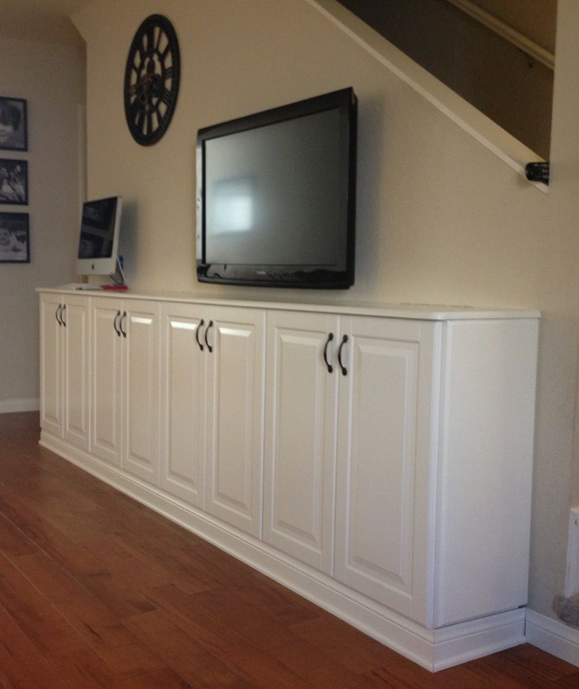 Liding Living Room Built In Console We Used 4 Liding Upper Cabinets And Simply Built A Base