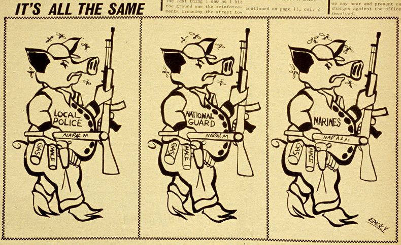 Emory Douglas, It's All The Same (drawing of pigs).