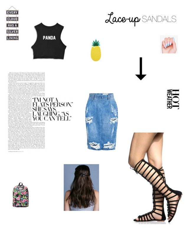"""""""Lace-Up Sandals"""" by kpopqueen on Polyvore featuring Vans, Silver Lining, Miss Selfridge, One Teaspoon, contestentry, laceupsandals and PVStyleInsiderContest"""