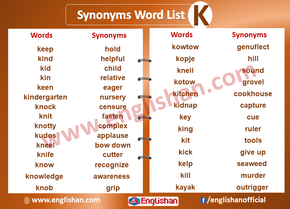 Synonyms Word List K Synonyms List A To Z With Examples And Pdf Word List Words English Writing Skills