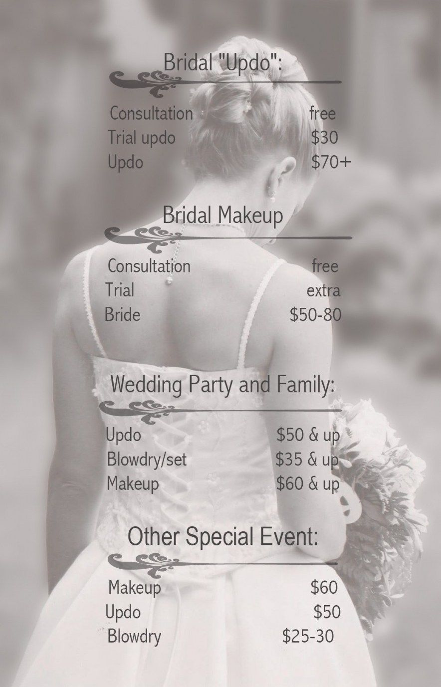 Wedding Hairstyle Price List Wedding Hair And Makeup Makeup Prices Wedding Makeup Cost
