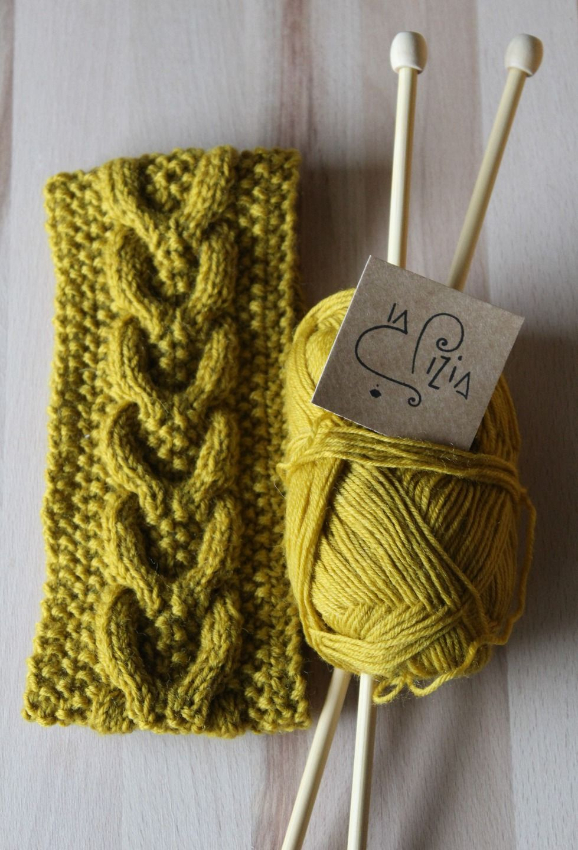 Fascia per capelli in lana realizzata a maglia   Accessori per capelli di  la-pizia 8331599abe4e