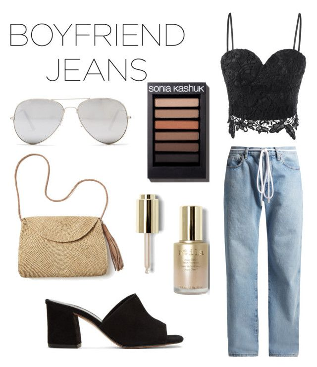 """Boyfriend Jeans"" by elainejaxo ❤ liked on Polyvore featuring Off-White, Maryam Nassir Zadeh, Mar y Sol, Sunny Rebel and Stila"