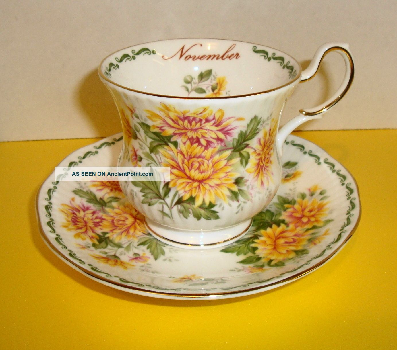 Queens Fine Bone China Cup Saucer November Yellow