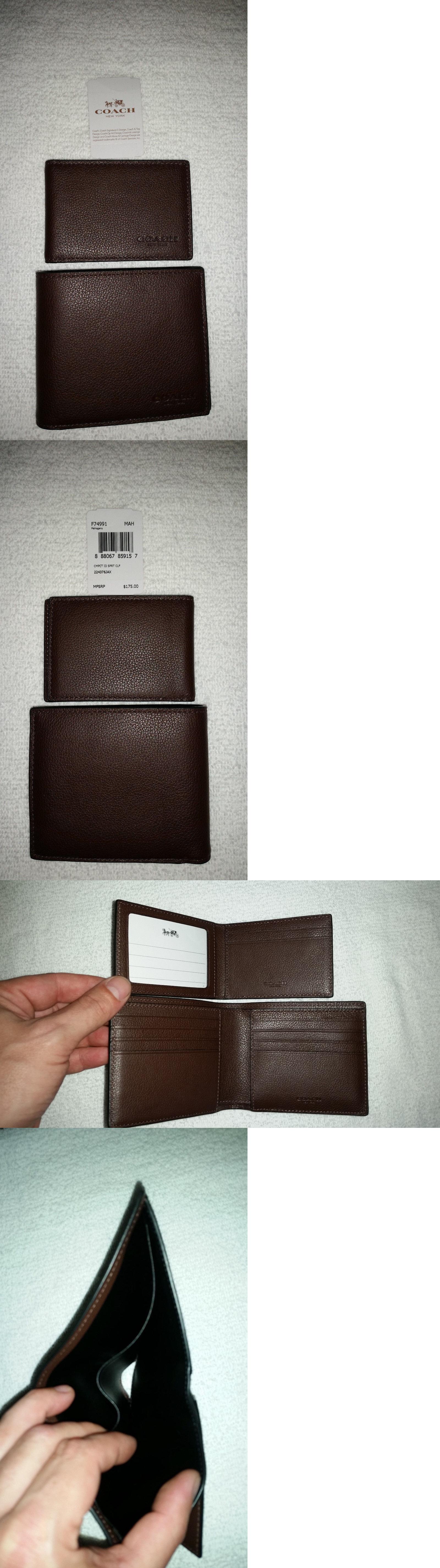 2e8d62b8e251 Wallets 2996  Nwt Coach Men S Compact Id Sport Calf Leather Wallet Atlantic F74991  Mahogany