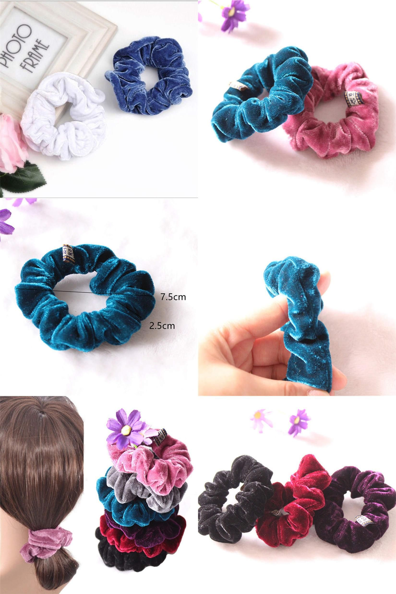 4pcs Candy Elastic Accessories Hair Scrunchie Ponytail Holder Scrunchy Hairband