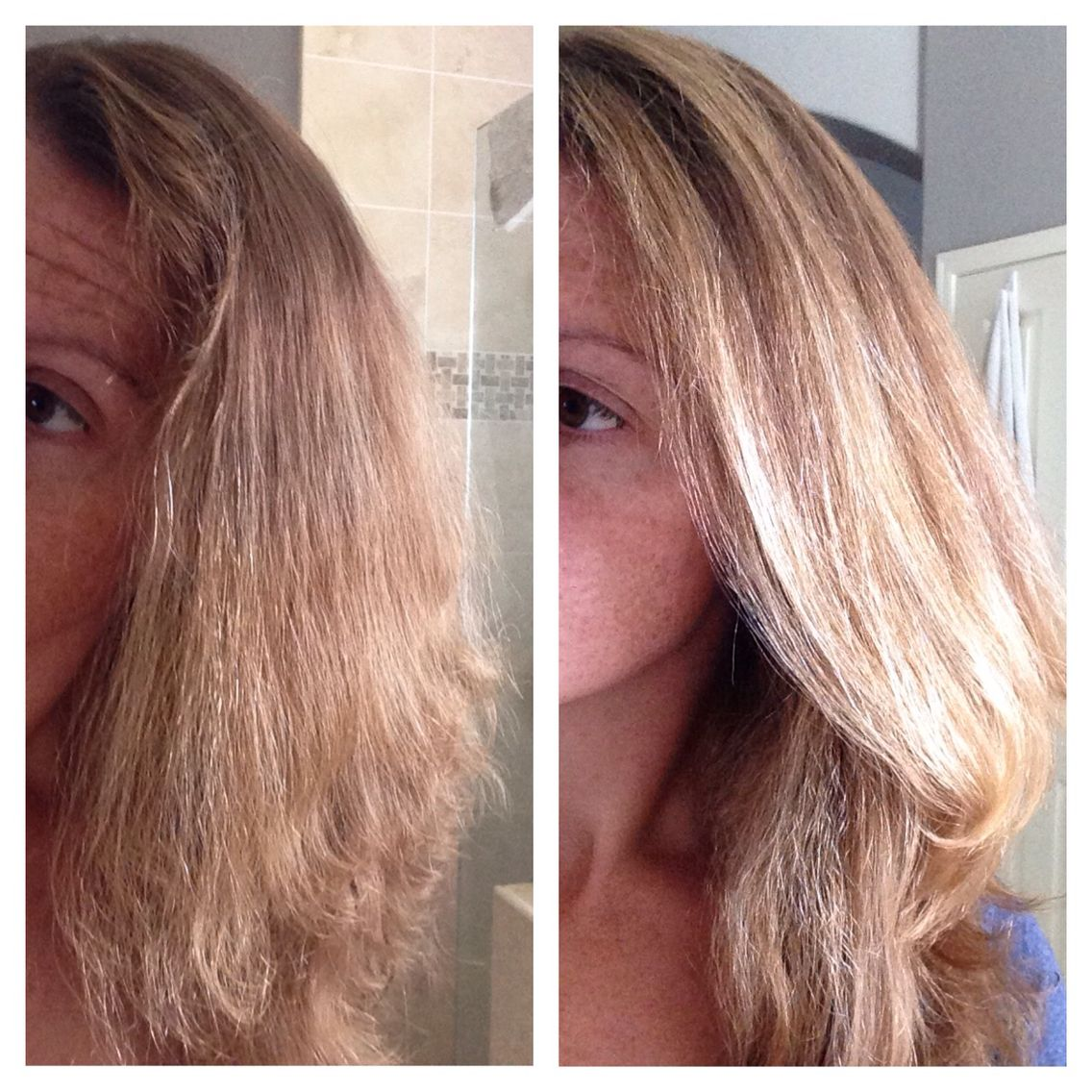 Clairol Shimmer Lights shampoo before and after.