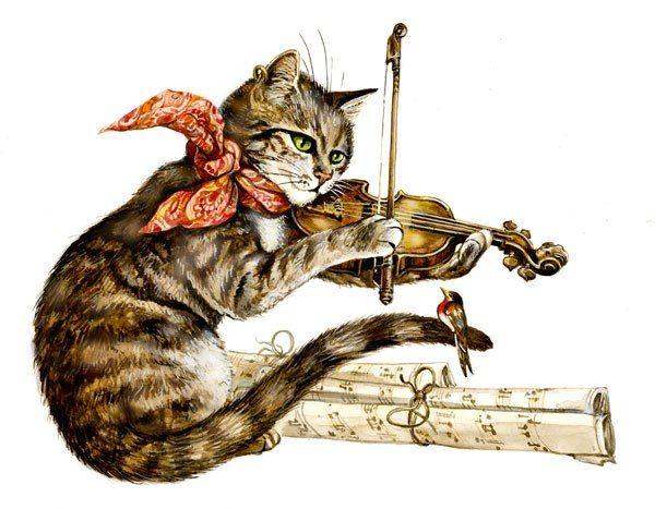 Букет, открытка с днем рождения для скрипача с котиком