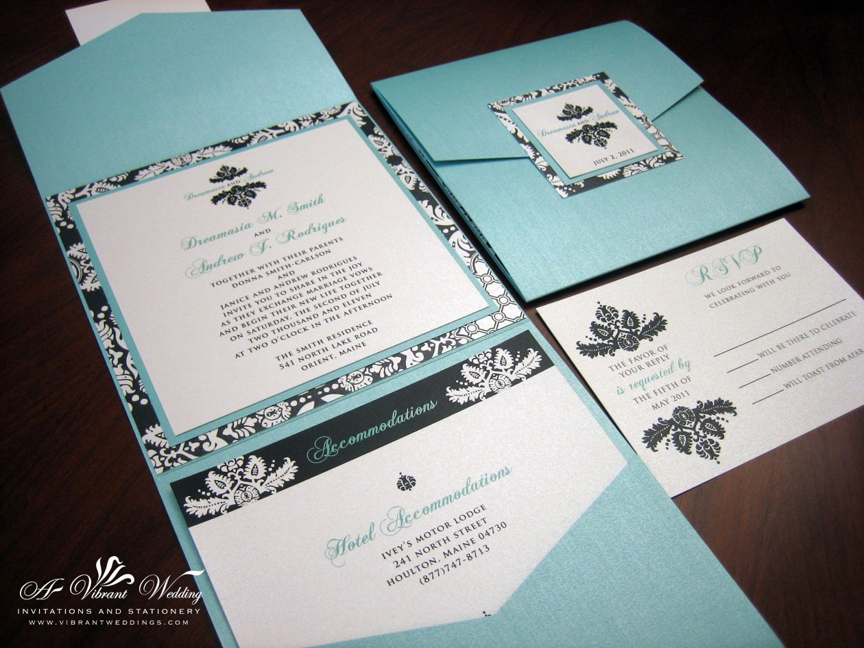 Tiffany Blue & Black Damask Pocket fold wedding invitation ...