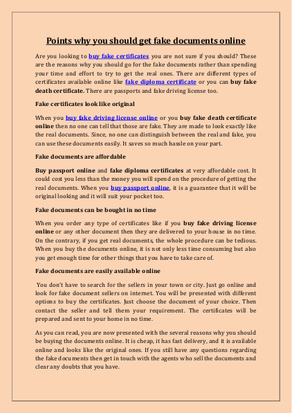 Points Why You Should Get Fake Documents Online Edocr Online Documents Fake