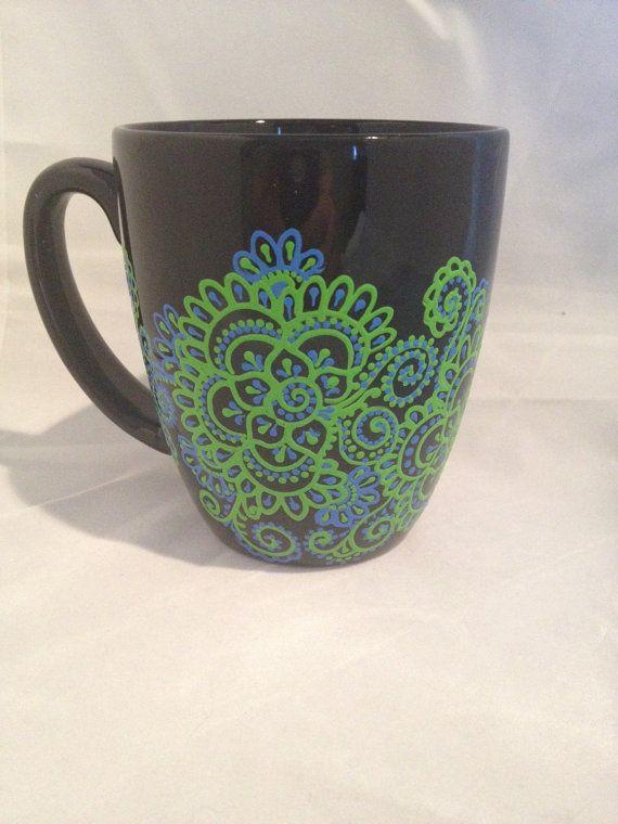 Black blue & green Henna Inspired mug by misslee on Etsy