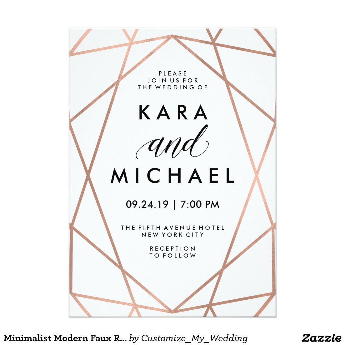 Minimalist Modern Faux Rose Gold On White Card Weddings And Wedding