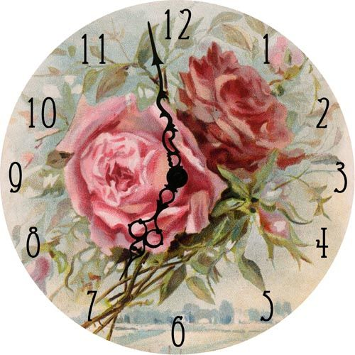 "Mini Clock - Pink RosesMini Clock - Pink Roses $21.00  5"" Vintage image on wood tastefully glittered. Perfect for Mom's desk or night stand!"