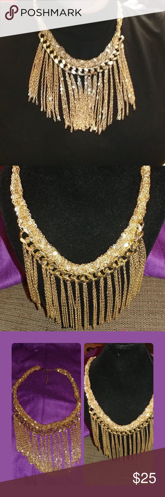 Golden Chain Fringe Choker Necklace Golden Chain Fringe Choker Necklace Jewelry Necklaces