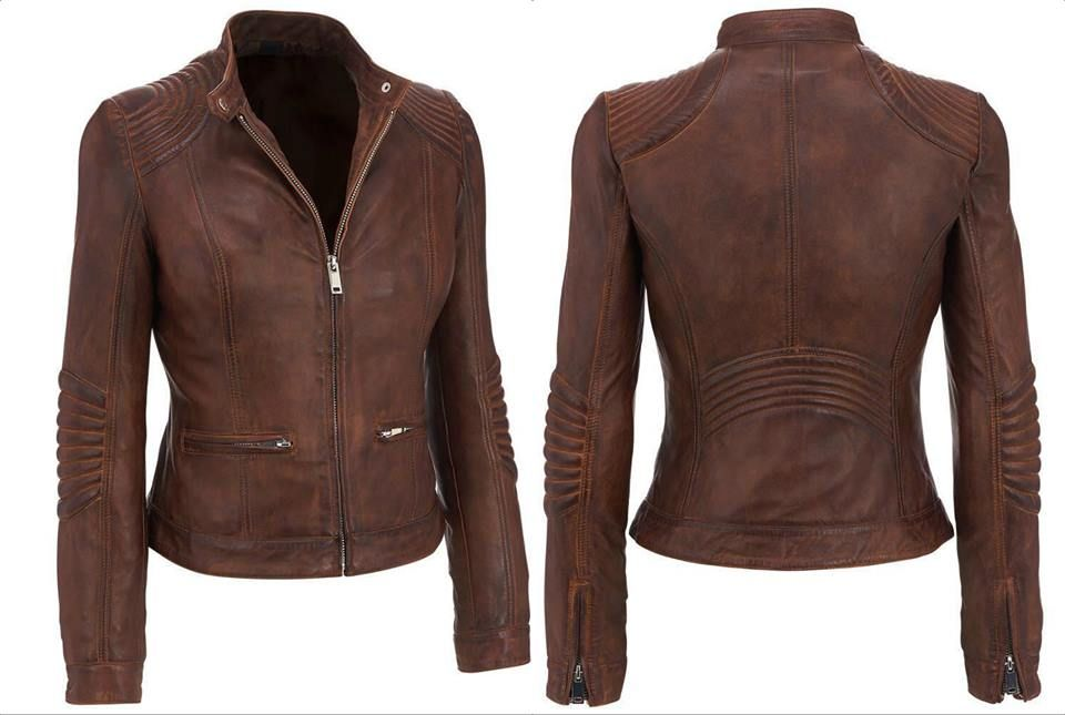 Women/'s Distressed Stylish Brown Cafe Racer Vintage Biker Real Leather Jacket