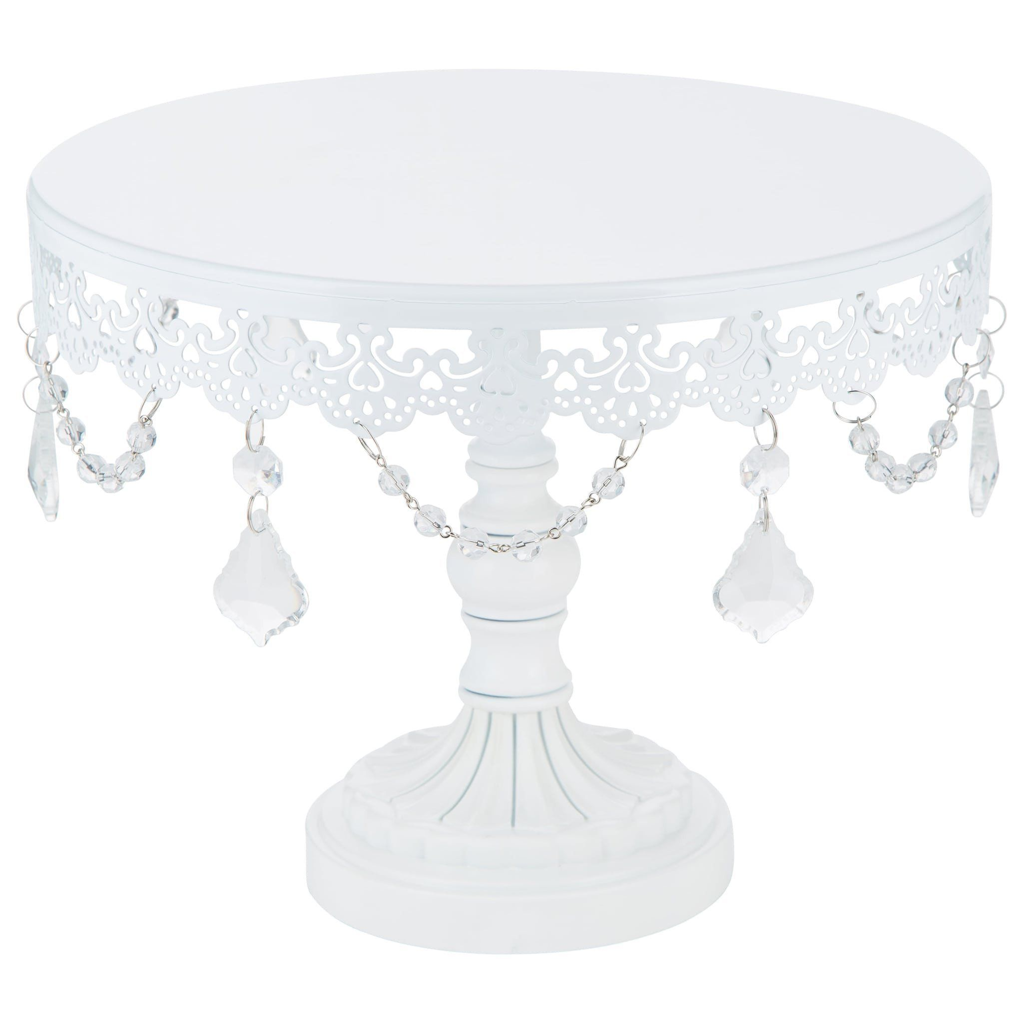 inch crystaldraped round metal cake stand white pinterest