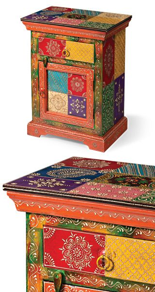 Hand Painted Indian Bedside Cabinet With Images Painted Furniture Cabinets Funky Painted Furniture Hand Painted Furniture