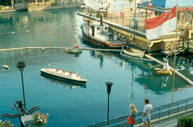 """Queen Mary scale model - The Wrather Corporation also owned the Queen Mary, docked in Long Beach, CA. This is a scale model which was berthed in the marina at the Disneyland Hotel. This model was used in the filming of the movie """"The Poseidon Adventure."""""""