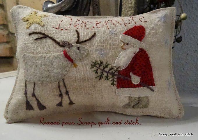 Santa and his Reindeer ~ Scrap quilt and stitch: Free December & charming | wool appliqué christmas | Pinterest | Wool applique ... pillowsntoast.com