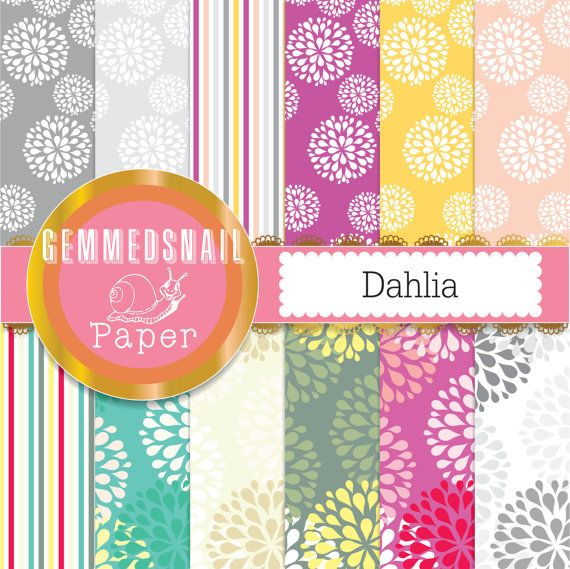 Flower digital paper 'Dahlia' flowers, big blossoms, spring digital paper 12 sheets