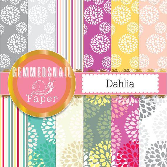 Flower digital paper 'Dahlia' flowers, big blossoms, spring digital paper 12 sheets