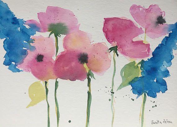 Original Watercolor Painting Paintings Flowers Abstract Flowers