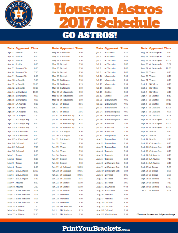 image about Cincinnati Reds Printable Schedule known as 2017 Houston Astros Agenda Printable MLB Schedules