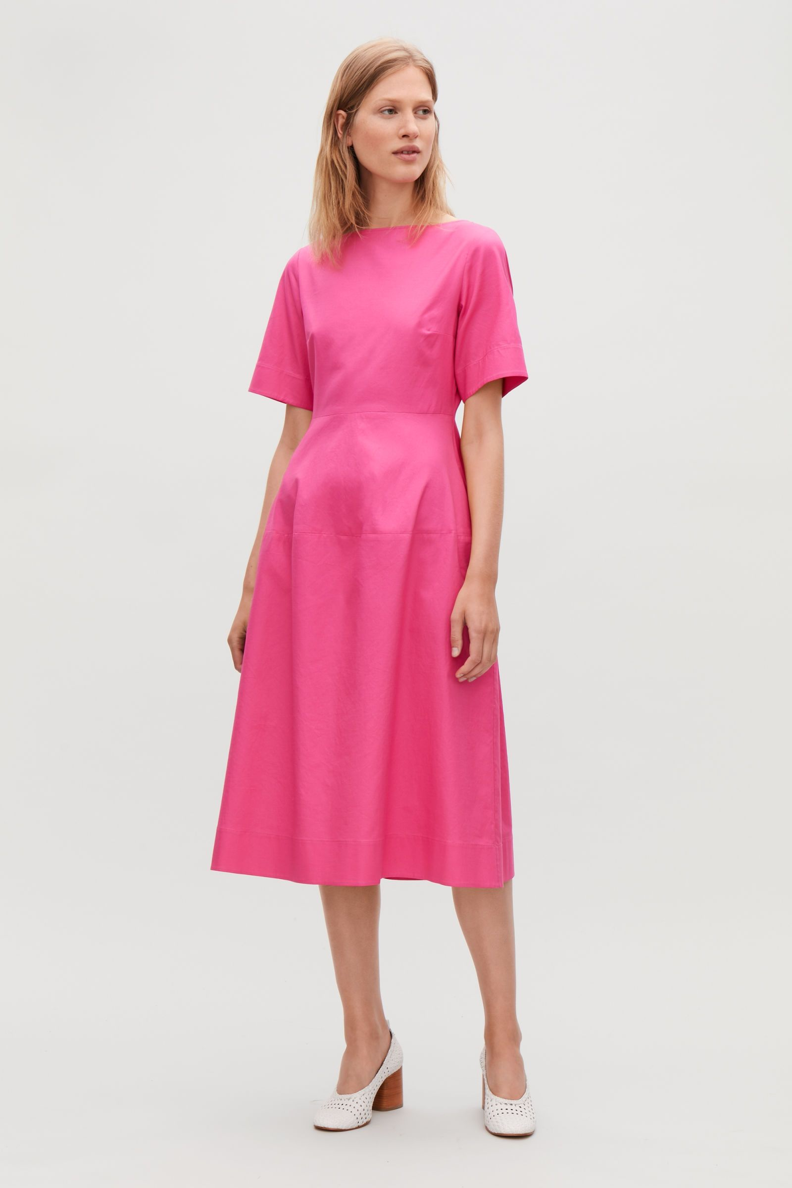 281e96a49340 Model side image of Cos waisted short-sleeve dress in pink | Clothes ...