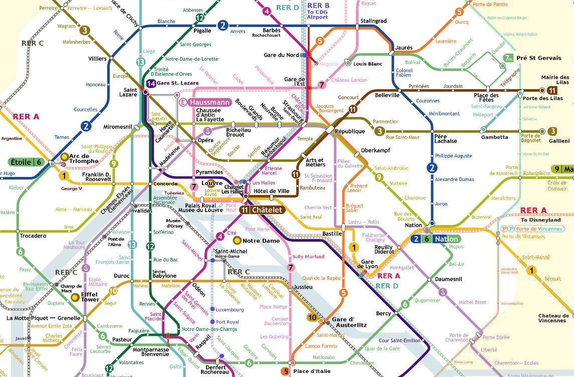 Central Paris Metro Map French Paris Pinterest Paris Metro - Paris map metro