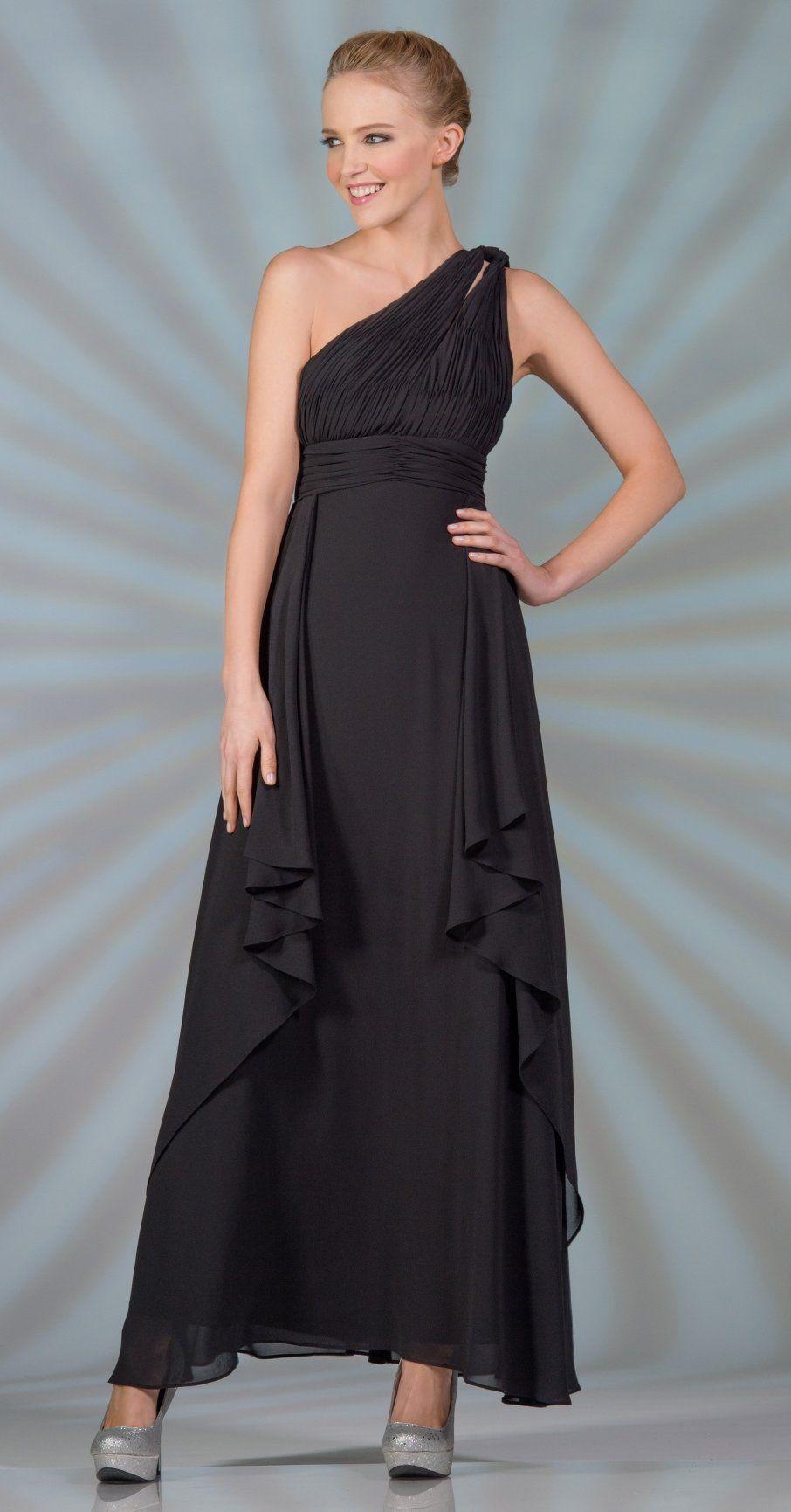 Chiffon One Shoulder Black Semi Formal Dress Tea Length 10599