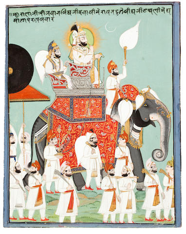 A portrait of Maharana Jawan Singh in procession Udaipur