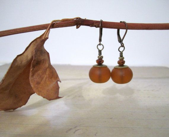 Sea Glass Rondelle Bead Earrings - Dark Amber  $18.00