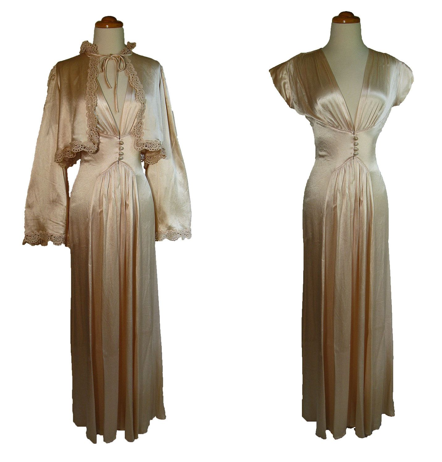 547c4c871 Late 1930s Early 1940s Silk PEIGNOIR SET. Vintage Charmeuse Silk and Lace  Bed Jacket and Nightgown. Peach Pink Hollywood Glamor.