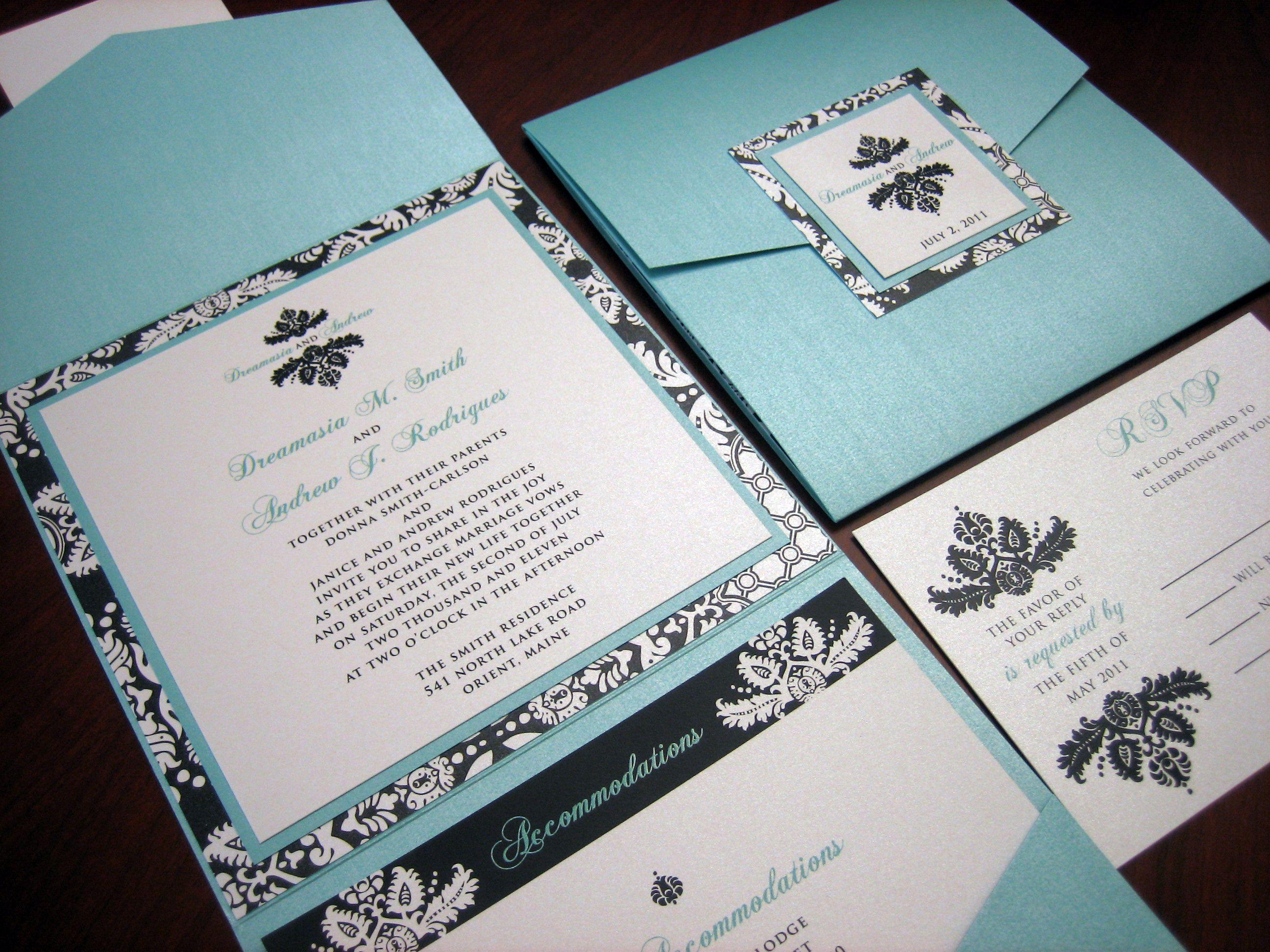 damask wedding invitations | tiffany blue wedding invitation | A ...