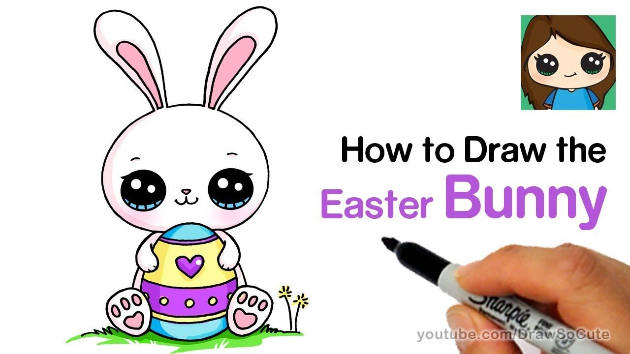 How To Draw A Cute Easter Bunny Easy Easter Bunny Cartoon Bunny Drawing Easter Drawings