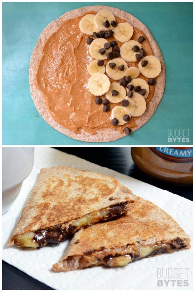 Speaking of quesadillas — these peanut butter banana ones will give your kids life. | 23 Mercifully Easy-To-Make Snacks Your Kids Will Love