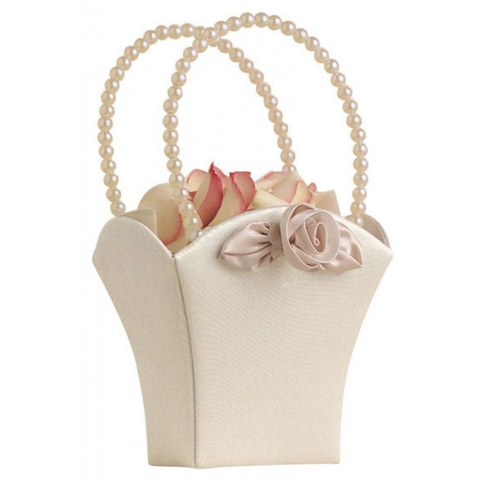 Blush Ivory Flower Basket [FB340 I Ivory Flower Girl Basket ...