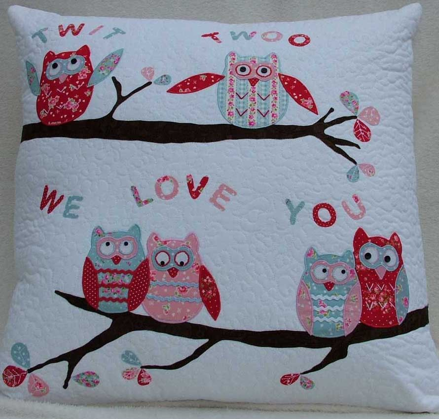 Patchwork / quilting applique twit twoo owl cushions sewing pattern ...