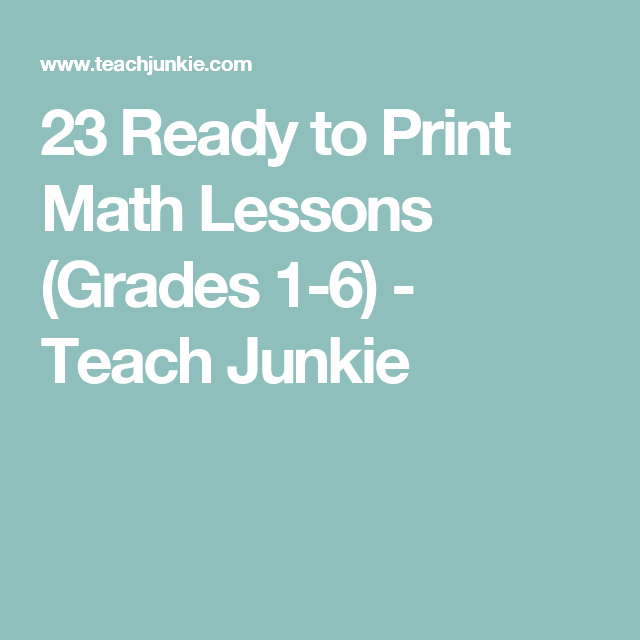 23 Ready to Print Math Lessons (Grades 1-6 | Maths, Free math and ...