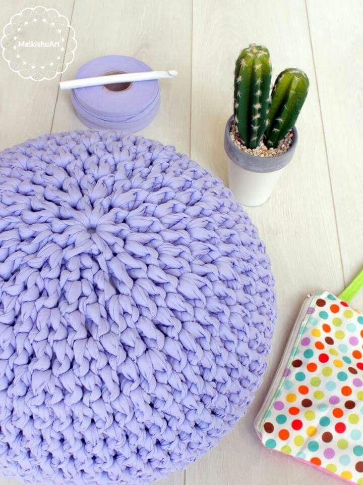 My New Crochet Pouf Made With Tshirt Yarn Crochet Pillow Patterns Enchanting T Shirt Yarn Pouf