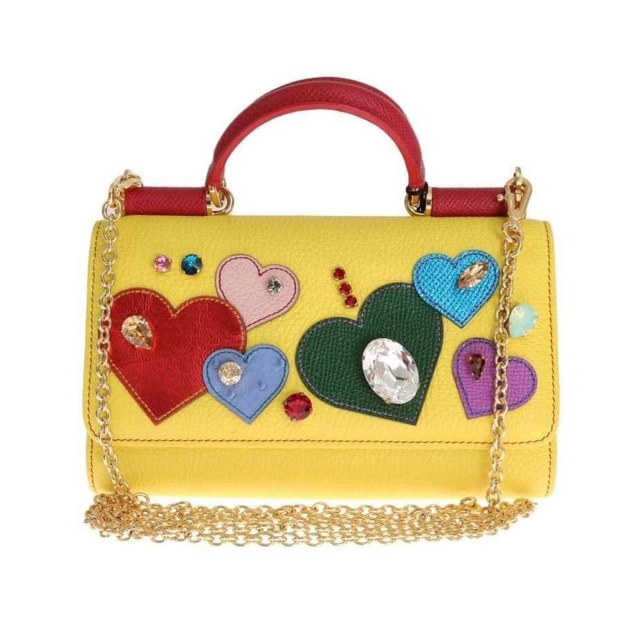 c6442605032b Dolce   Gabbana Yellow Leather Crystal VON Bag in 2018