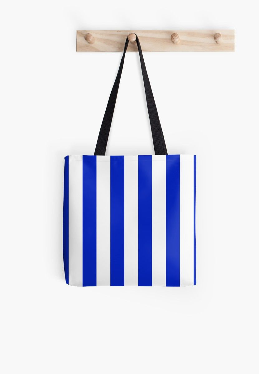 a7252da265f Cobalt Blue and White Wide Circus Tent Stripe  Throw Pillow by ...